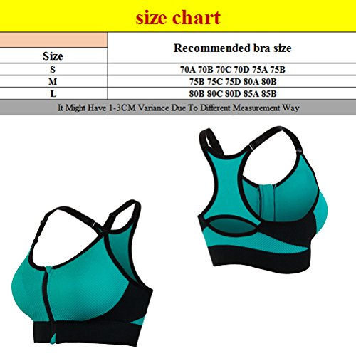 Zhhlinyuan Fashion Womens Running Yoga Exercise Vest Comfort Zipper Sports Bra 5010 Blue