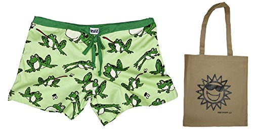 Toadally Green Womens' Juniors Frog Boxer PJ Shorts & Tote - 2 Piece Gift Set (X-Small)