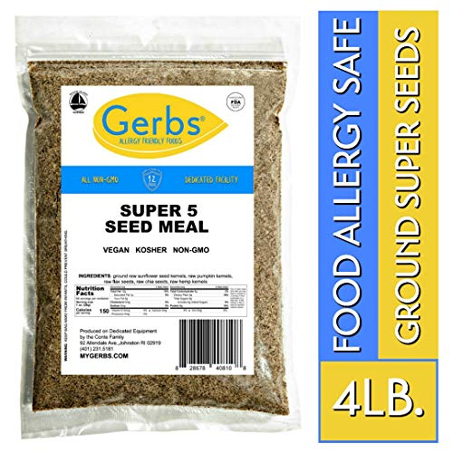 Gerbs Ground Pumpkin, Sunflower, Chia, Flax, Hemp Seed Meal, 4 LBS - Top 14 Food Allergy Free & NON GMO - Vegan & Keto Safe - Cold Milled Full Oil Seed Protein Powder ...