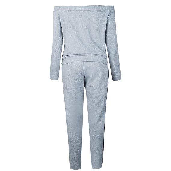 ZEZKT Sportswear Femme - Ensembles de Survêtements 2 Pièce Tops à Manches  Longues Épaule sans Bretelles Sweat-Shirt Pantalon de Jogging Vêtements de  Sport ... c468b6779a3