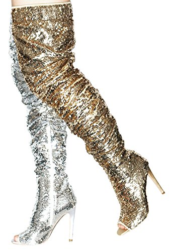Sparkle Women's Peep Boots High Camssoo Pupms Gold Knee Sequins Dance Over Fashion Party Toe Thigh Christmas Heel wIxwdT