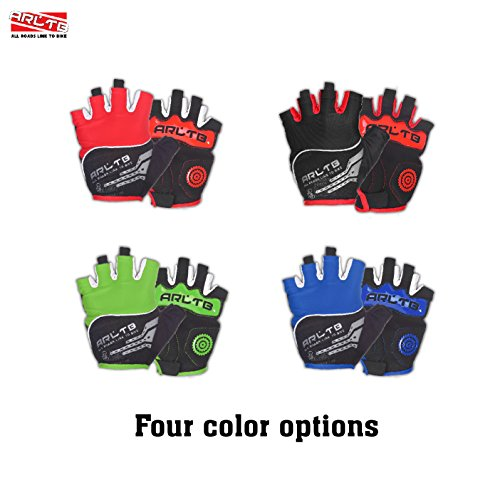 Arltb Cycling Gloves Bike Bicycle Gloves Padded Fingerless Biking Gloves Mittens with Easy to Pull Ring Shock Absorb Lycra Breathable For Bike Riding BMX Bikes Mountain Bike Free Cycle Motorcycle Dirt