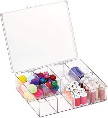 mDesign Caja con compartimentos para material de costura y manualidades – Costurero organizador de plástico con tapa y 8 divisiones – Organizador de hilos de coser, agujas y abalorios – transparente: Amazon.es: Hogar