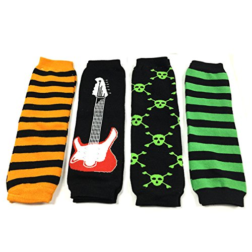Allydrew 4 Pack Leg Warmers In Various Styles For Babies And Toddlers, Orange, Guitar, Skull, Green Stripe
