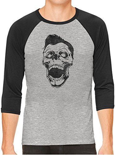 Austin Ink Apparel Retro Rockabilly Skull Unisex 3/4 Contrast Sleeve Lightweight Baseball Tee, Charcoal Sleeves, X-Large