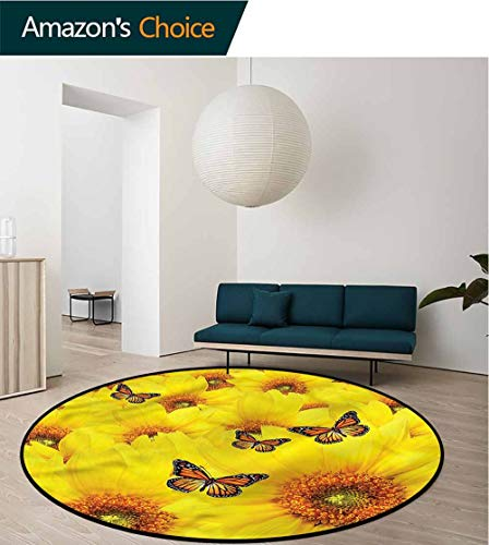 (RUGSMAT Sunflower Round Rugs for Bedroom,Summer Field Butterflies Non Skid Nursery Kids Area Rug for Bedroom Machine Washable Round-39)