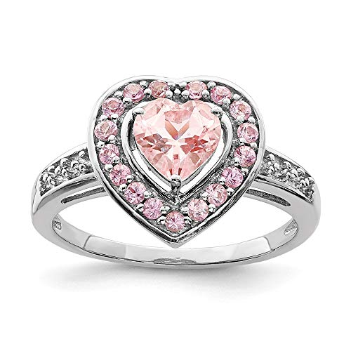 - 925 Sterling Silver Pink Morganite Heart Band Ring Size 9.00 S/love Gemstone Fine Jewelry Gifts For Women For Her