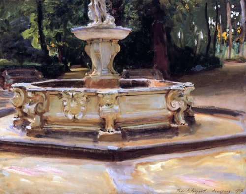 John Singer Sargent A Marble Fountain at Aranjuez- Spain - 24'' x 30'' 100% Hand Painted Oil Painting Reproduction by Art Oyster