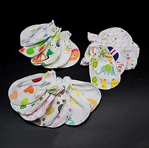 Teydhao 4 Pairs Unisex Newborn Baby Mittens Soft Cotton Anti Scratch Gloves No Scratch Gifts 0-6 Months