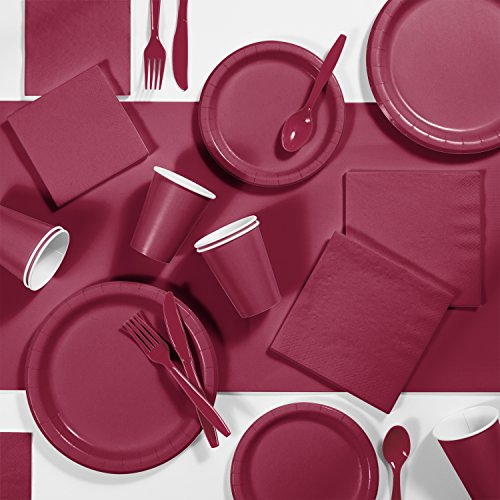 Burgundy Red Party Supplies Kit, Serves 24]()