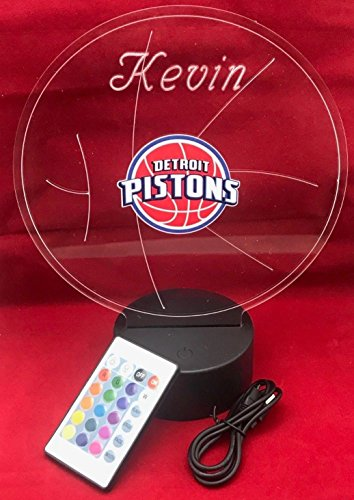 Detroit Pistons Table - Detroit Beautiful Handmade Acrylic Personalized Pistons NBA Basketball Light Up Light Lamp LED Lamp Our Newest Feature - It's WOW, Comes With Remote,16 Color Options, Dimmer, Free Engraved, Great Gift