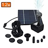QueenA Upgraded 1.2W Solar Fountain Pump,Solar Powered Bird Bath Fountain,Outdoor Water Pumps Kit Birdbath Watering Submersible Pump for Fish/Garden/Pool/Pond