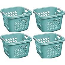Sterilite 1.5 Bushel/53 L Ultra Square Laundry Basket, Teal Splash, Case of 4
