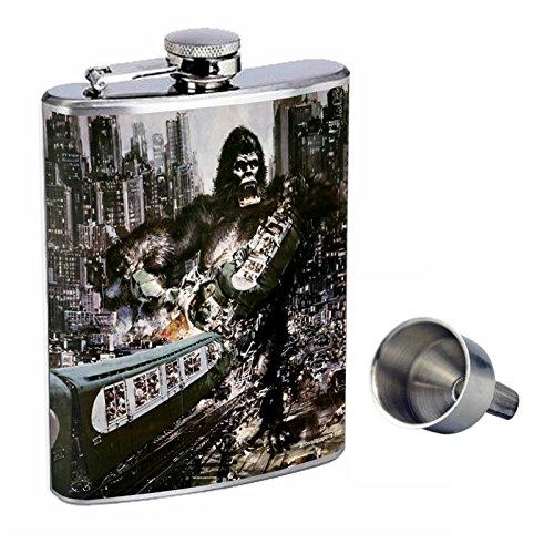 人気商品の Perfection Inスタイル8オンスステンレススチールWhiskey Flask with Train King Free B017GKXVY8 Funnel d-087 King Kong Attacking The City Train B017GKXVY8, SHOPまねき猫:9ed6d08a --- palmistry.woxpedia.com