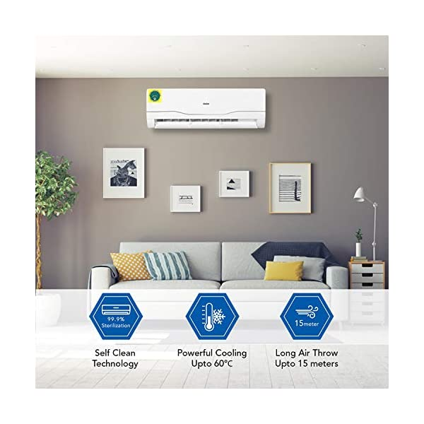 Haier 1.5 Ton 3 Star Inverter Split AC (Copper, High Density Filter, 2020 Model, HSU18C-NRS3B(INV), White) 2021 August Split AC with Self Clean Technology: thatautomatically cleans the evaporator of this AC Capacity: 1.5 Ton suitable for medium sized rooms (Upto 150 square feet) Energy rating: 3 star, Annual energy consumption: 1089, ISEER value: 3.70. (Please refer energy label on product page or contact brand for more details)