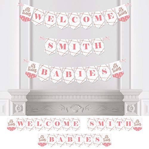 Big Dot of Happiness Personalized It's Twin Girls - Custom Baby Shower Bunting Banner and Decorations - Welcome Babies Custom Name Banner -