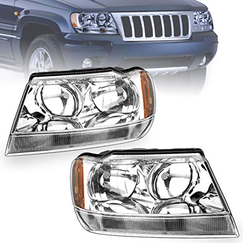 For 1999-2004 Jeep Grand Cherokee Headlights 4-Dr OEDRO Upgrated Amber Side Chrome Housing Crystal Clear Replacement Headlight Set Left+Right, 2-Yr Warranty