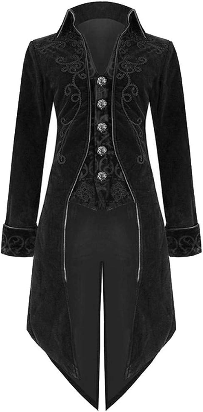 FRAUIT Herren Gothic Steampunk Wintermantel Jacke Bankett Kleid Parka Männer Uniform Praty Outwear Kurz Mantel Warm Atmungsaktiv Bequem Kleidung Top