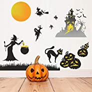 Happy Halloween Wall Stickers, Cemetery Castle Skeleton Cats Ghost Witch and Bats Wall Decals, Pumpkins Spooky