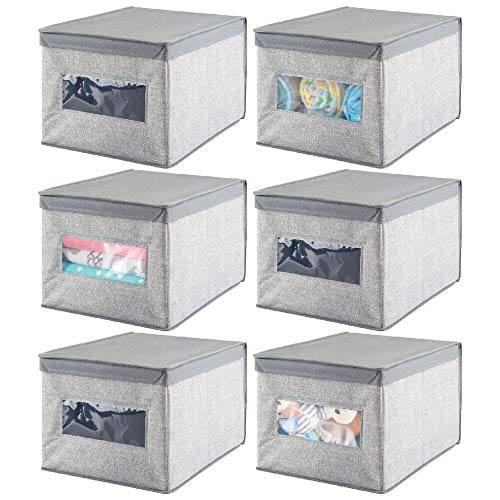 mDesign Decorative Soft Stackable Fabric Closet Storage Organizer Holder Box - Clear Window, Lid, for Child/Kids Room, Nursery - Large, Collapsible Foldable - Textured Print, 6 Pack - Gray