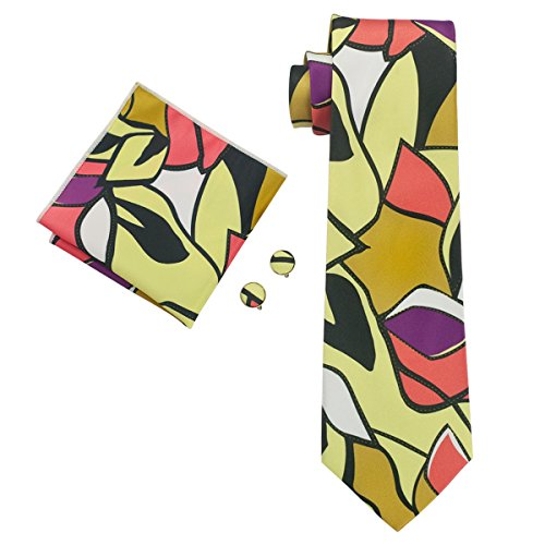 Tie amp; Cufflinks Cotton Tie Men's Floral Set Silk Hi Necktie Handekrchief Multicolored gZ08qw