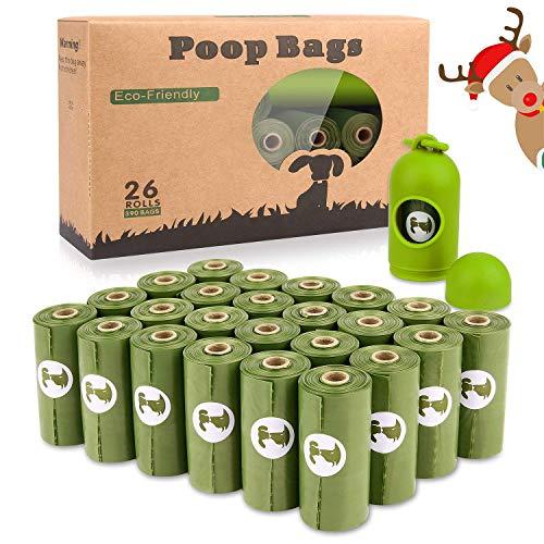 Dog Poop Bags 26 Rolls (390 Counts) with Dispenser, Scented Leak-Proof Dog Waste ()