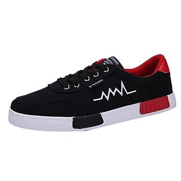 LuckyGirls Zapatillas Lona para Hombre Casual Calzado de Deportivo Transpirables Zapatos Informales Bambas con Cordones