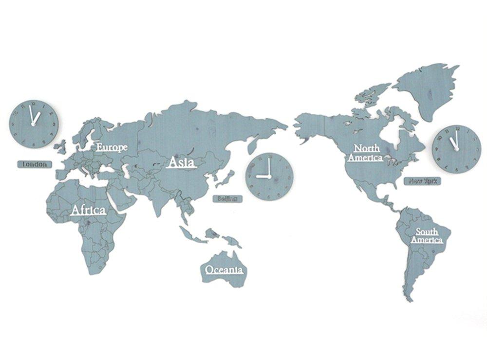GREEM MARKET(グリームマーケット) 壁掛け時計 掛け時計 ウォール クロック 世界 時計 世界地図 おしゃれ インテリア 北欧 ウッド DIY 品番:GMS01291(ブルー) B077NV5FQX ブルー ブルー