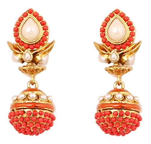 Touchstone Indian Bollywood Spherical Faux Pearls/Corals jhumki Earrings in Antique Gold Tone for Women