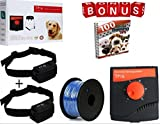 Underground Invisible Electric PetSafe Fence System,10 Acre Range 1000 Ft Wire, For 2 Dogs Over 8 Ib. 100% Waterproof, Rechargeable Wireless collar & Outdoor boundary Flags & Free Bonus Training Ebook