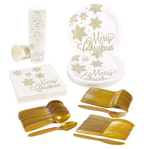 Christmas Tableware - Disposable Dinnerware Set - Serves 24 - Merry Christmas and Golden Snowflakes Party Supplies - Includes Plastic Knives, Spoons, Forks, Paper Plates, Napkins, Cups