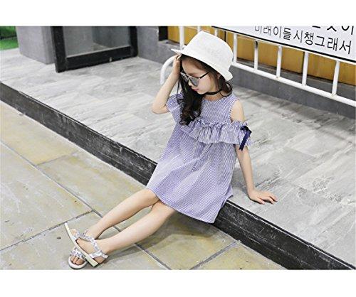 FTSUCQ Girls Off Shoulder Striped Print Dress (130(7-8Y), Blue) by Dillian Dress (Image #6)