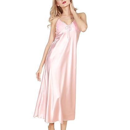 8a56ddad14e 4Ping Women s Spring and Summer Imitation Silk Pajamas Long Paragraph Split  Sexy Sling Sleep Dress Pink M