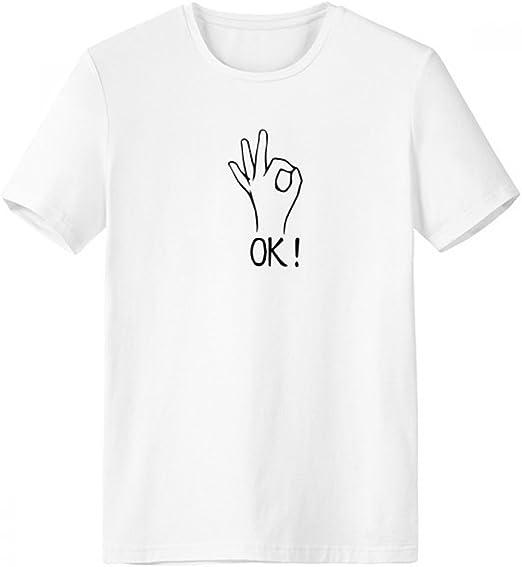 DIYthinker Negro gesto ACEPTABLE personalizada patrón de cuello redondo camiseta blanca de manga corta Comfort Deportes camisetas de regalos - Multi -: Amazon.es: Ropa y accesorios