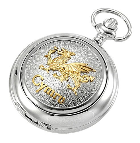 Silver/Gold Welsh Dragon Skeleton Chain Pocket Watch by Woodford Silver White Gold Pocket Watch