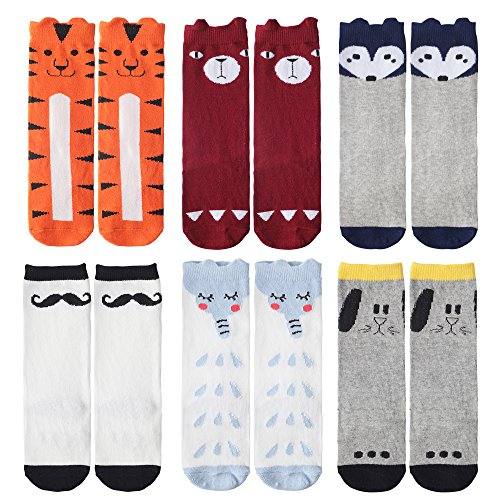 - Baby Knee High Socks for 0-12 Month Boys Girls 6 Pairs: Animal, Dog, Tiger, Fox, Bear, Elephant, Mustache