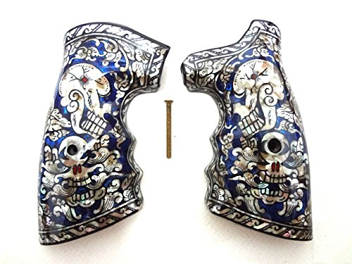 Blue Skull Grips - Sri Lanna Mother of Pearl Inlay S&W .38 .357 K or L Frame Square Butt Grips Blue Skull