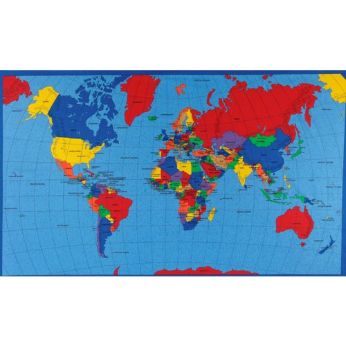 - Fabric Traditions Multi Panel Map World Fabric,