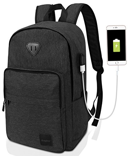 ibagbar Backpack Rucksack Laptop Bag Computer Bag Daypack Travel Bag College Bag Book Bag School Bag Hiking Bag Camping Bag Weekend Bag Black New by Ibagbar