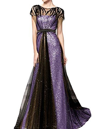 ParteiKleider Lavendel Frauen Abend wulstige formale Sequins HWAN lange line A Kleider RpwdvqYv