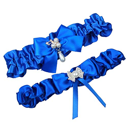 MerryJuly Throw Away and Keep One Satin Wedding Bridal Garter Belt Set with Pearls (Royal Blue)