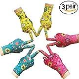 Gardening Gloves - PROMEDIX - Garden Gloves Women Medium Size & 3 Pairs Work Gloves Super Light Weight Breathable Gloves