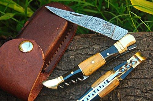 (DKC Knives (14 5/18) Sale DKC-53 Blonde Squire Damascus Folding Laguiole Pocket Knife 4.5