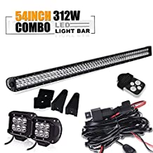 TURBO SII 54 inch Led Work Light Bar 312w Straight Spot Flood Combo Beam with 3Lead Remote Control Wiring Harness Kit and 4 inch Led Work Lights For Chevrolet Dodge Ford GMC Jeep Toyota Polaris RZR Ranger ATV UTV Off Road