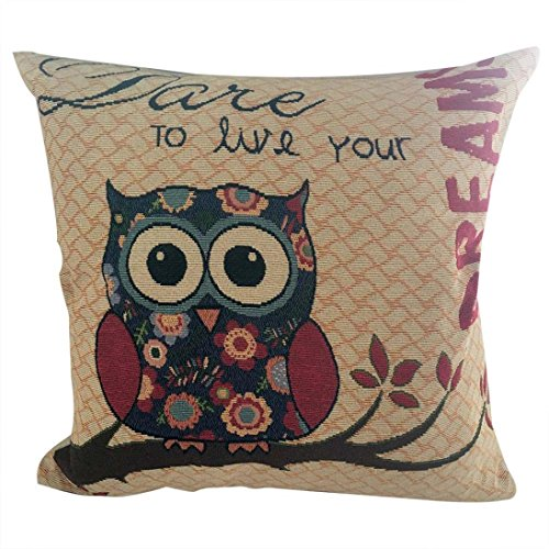 GBSELL Pillow Cover Owl Retro Embroidery Pillow Case Sofa Throw Cushion Cover Home Decor,45cm45cm (A)