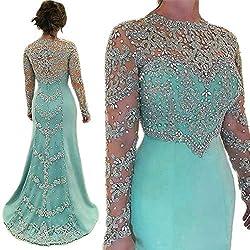 Crystal Long Sleeve Formal Dress