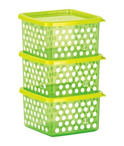 Joyo Fresia Multipurpose Plastic Storage Container Set, 600ml, Set of 3, Green