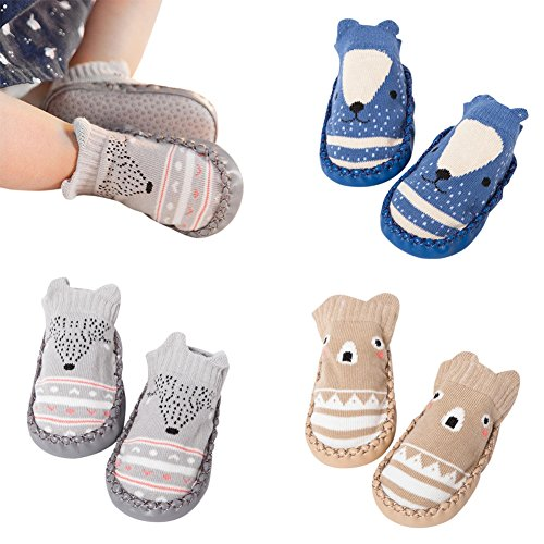 3 Pairs Baby Crib Shoes Toddler Girls Boys Anti-slip Cotton Socks Boots Infant Newborn Booties (B-Pack, 0-6 Months)