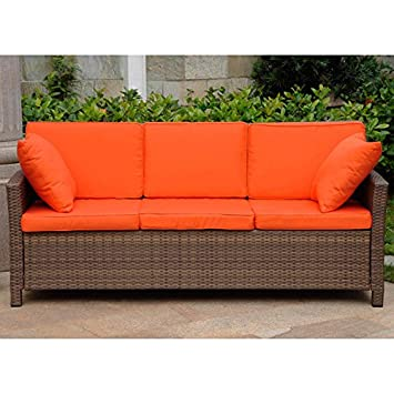 Wicker Resin/Steel Patio Sofa With Cushions (Antique Brown And Tangerine  Dream)
