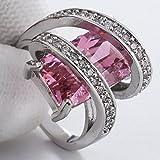 Huge 5.5CT Pink Sapphire Topaz Women 925 Silver Wedding Engagement Ring Size6-10#by pimchanok shop (8, Pink Sapphire)